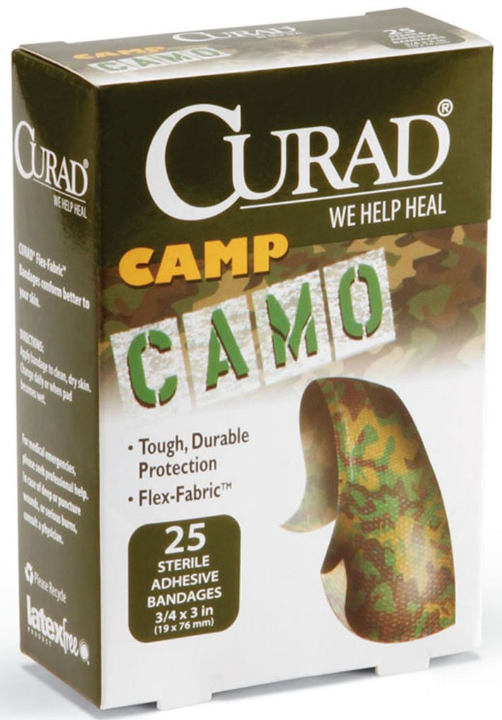 Medline CUR45701Z Curad Camo Fabric Adhesive Bandages, 3/4X3, Camoflage Green (Box of 1)