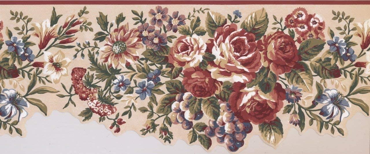 Red Blue Flowers Grapes Vintage AU5111B Wallpaper Border