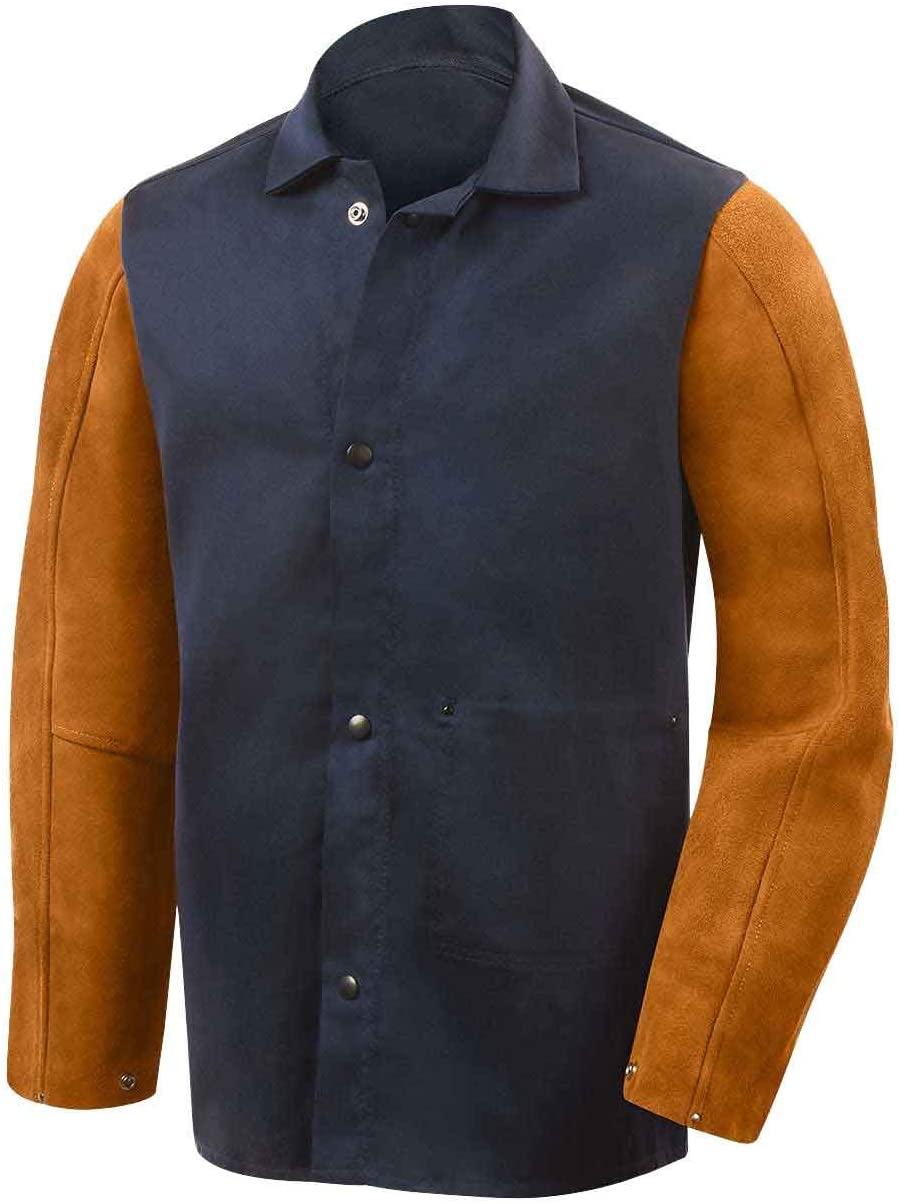 Steiner 1260 Weldlite Plus Hybrid FR Cotton with Leather Sleeves Welding Jacket, Blue/Rust, 4X-Large