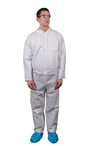 Keystone CVL-KG-MED Key Guard Coverall, Open Wrists and Ankles Zipper Front, Single Collar, Medium, White (Pack of 25)
