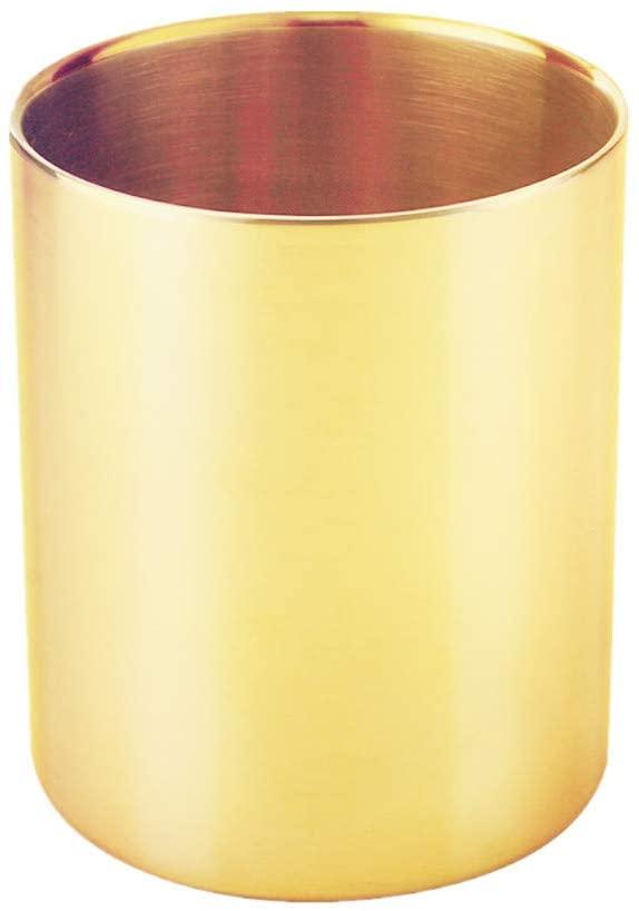 METAN Gold Pencil Holder Cup Multi Purpose Use Pen Pot Flower Vase for Home Office Desk Organizers Craft Decoration