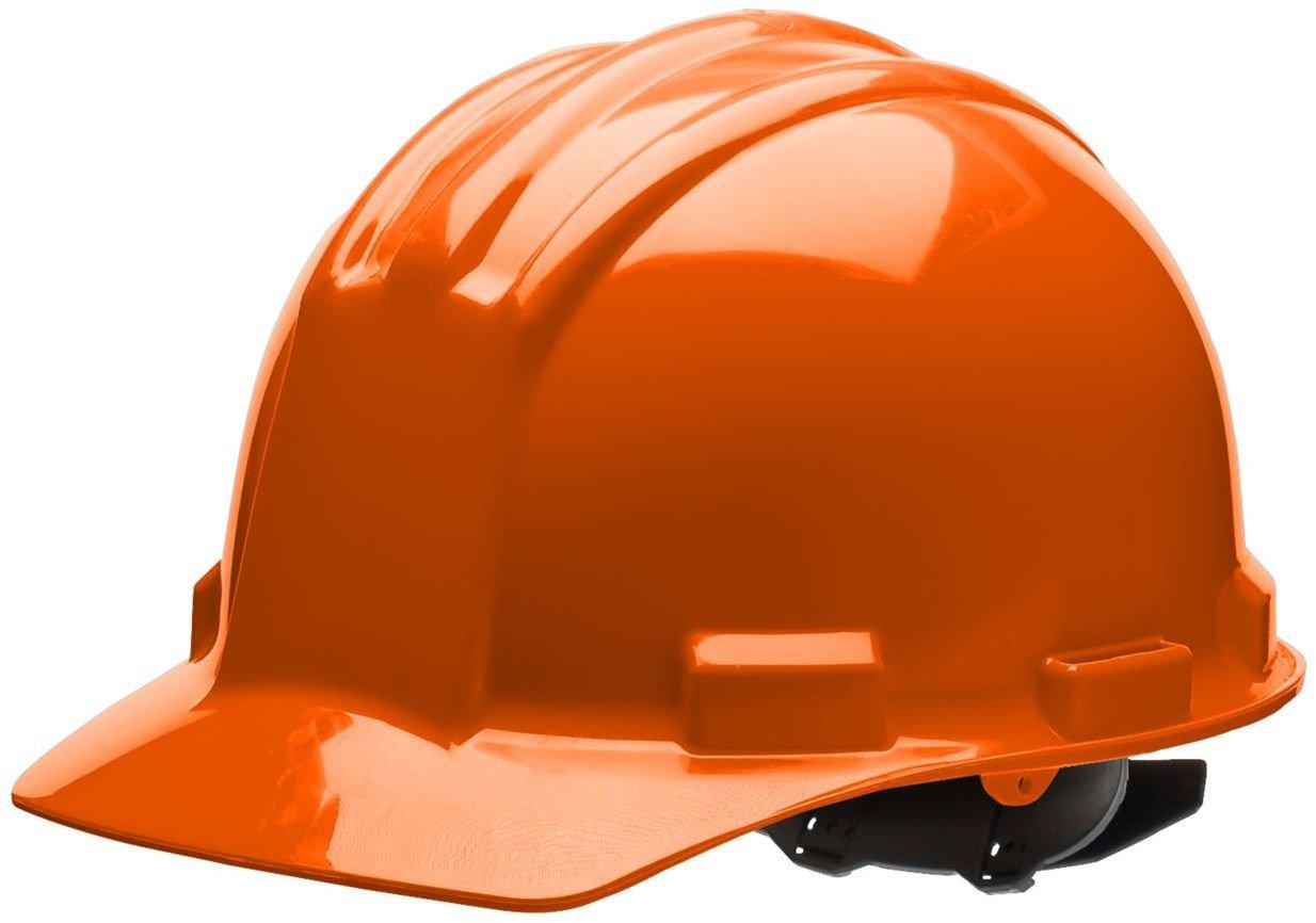 Bullard 51ORP Standard Series Cap Style w/Rain Trough Hard Hat, 4 Point Pin Lock Suspension, Poly Brow Pad, Orange, One Size
