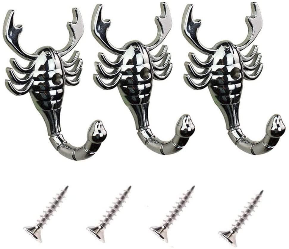 haowei 3 Pack Animal Personality Hook Single Hook Clothes Hook Clothes Hook Clothes Hook Back Hook in The Living Room Door (Scorpion)