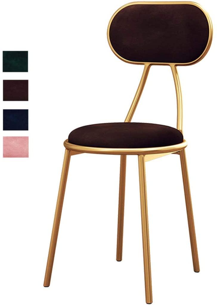 KMMK Desk Chairs,Barstools Modern Bar Stool Breakfast Kitchen High Stool Round Seat Counter Stool Footrest Design Wrought Iron + Velvet, 45/65/75Cm,Brown,45Cm
