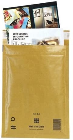 Mail Lite Gold Padded Mailing Bags, Size J/6, Gold, 314mm X 450mm, Box of 50 (Packaging May vary)