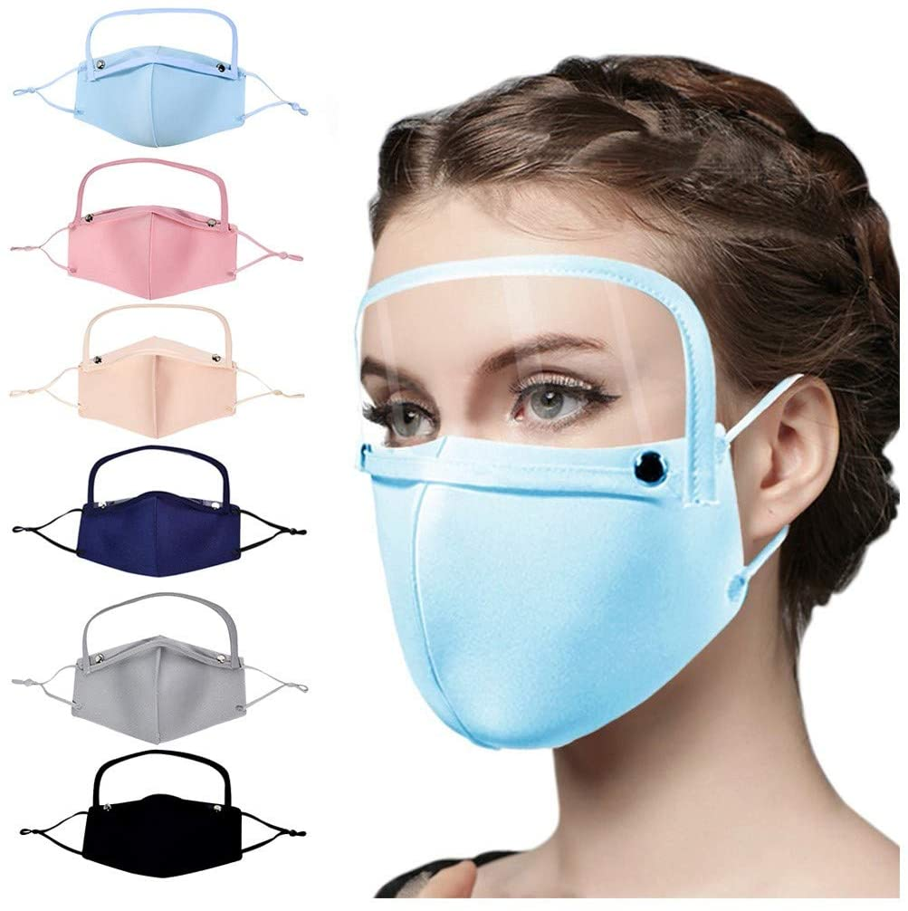 NOMENI Face Protection, Adult Outdoor Washable Reusable Mouth Protection With Filter And Detachable Blindfold (Multicolor - 6PC)