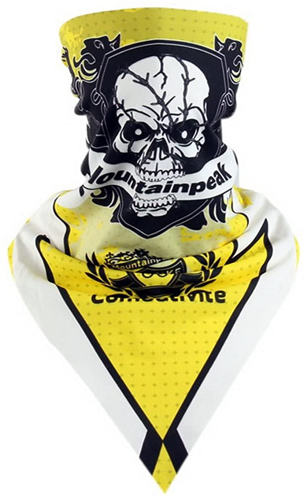 Gentle Meow Riding Scarf Magic Triangular Scarf Out Cycling Accessory Skull Face Mask Yellow