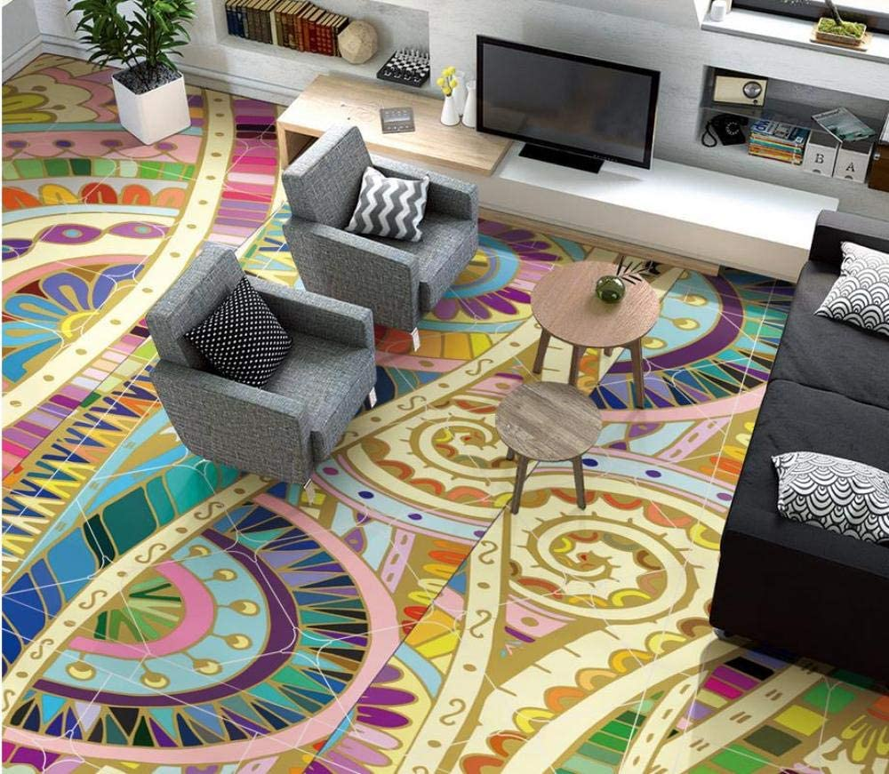3D Floor Moroccan Abstract Pattern Hand-Painted Floor 3D Wallpaper PVC 3D Floor Painting Wallpaper 250x175cm