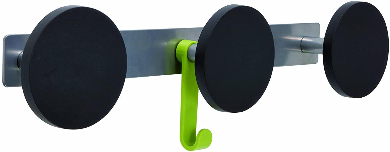 Alba Triple Plastic Peg Wall Coat Rack with 1 Plastic Hook, Metallic Gray with Black Accents (PMS3)