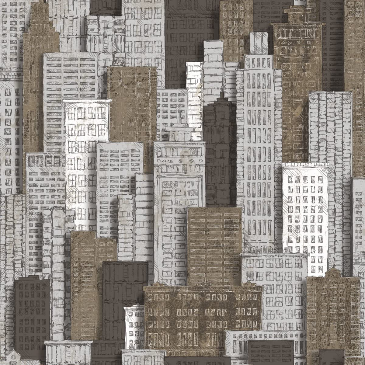 Wallpaper for Home, Office, Retail/City Perspective Wallpaper, Modern Geometry Design, Urban Art (Sky Scrapers, Vintage Wallpaper), Beige, Grey, White, Silver/Roll 53 cm x 10 m (21in x 32.8ft)
