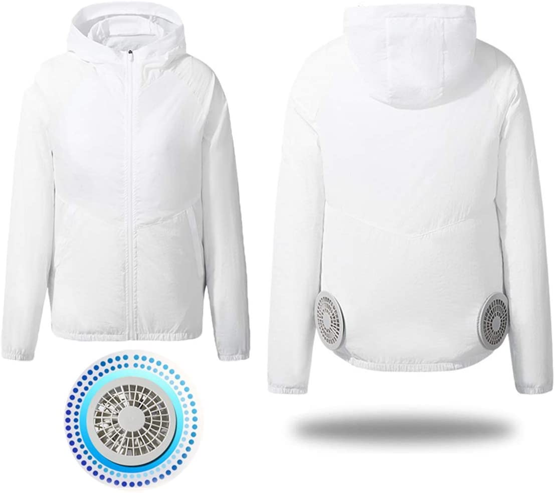 Cooling Jacket Fan Summer Smart Cooling Jacket with 2USB cable fans for Summer Outdoors Welding Fishing hiking sports Air-Conditioned Clothes (Color : White, Size : M)