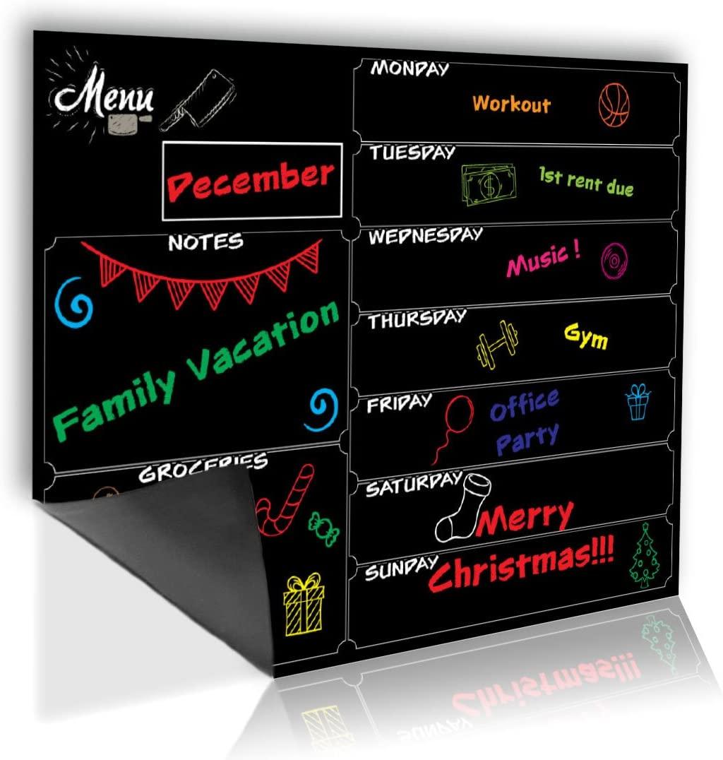 Dry Erase Magnetic Weekly Food Menu Magnet Planner Chalkboard Style Fridge