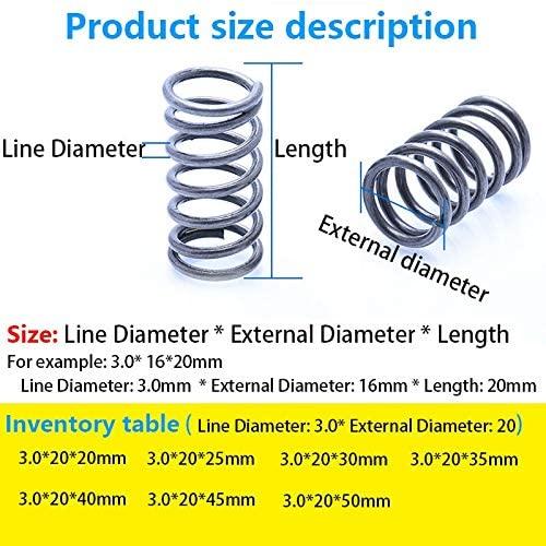 LF-Bolt, 5Pcs Pressure Spring Return Y Spring Compressed Spring Line Diameter 3.0mm, External Diameter 20mm, Length 20mm-50mm (Size : 20mm(5Pcs))