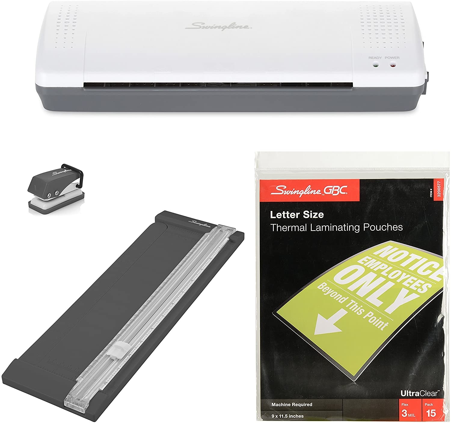 Swingline Lamination Starter Kit, Inspire Laminator, Pouches, Trimmer, Mini Hole Punch Included (1701869ECR),Gray