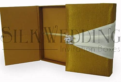 Magnificent Golden Silk Wedding Invitation Box with Cream Ribbon and Crystal Clasp