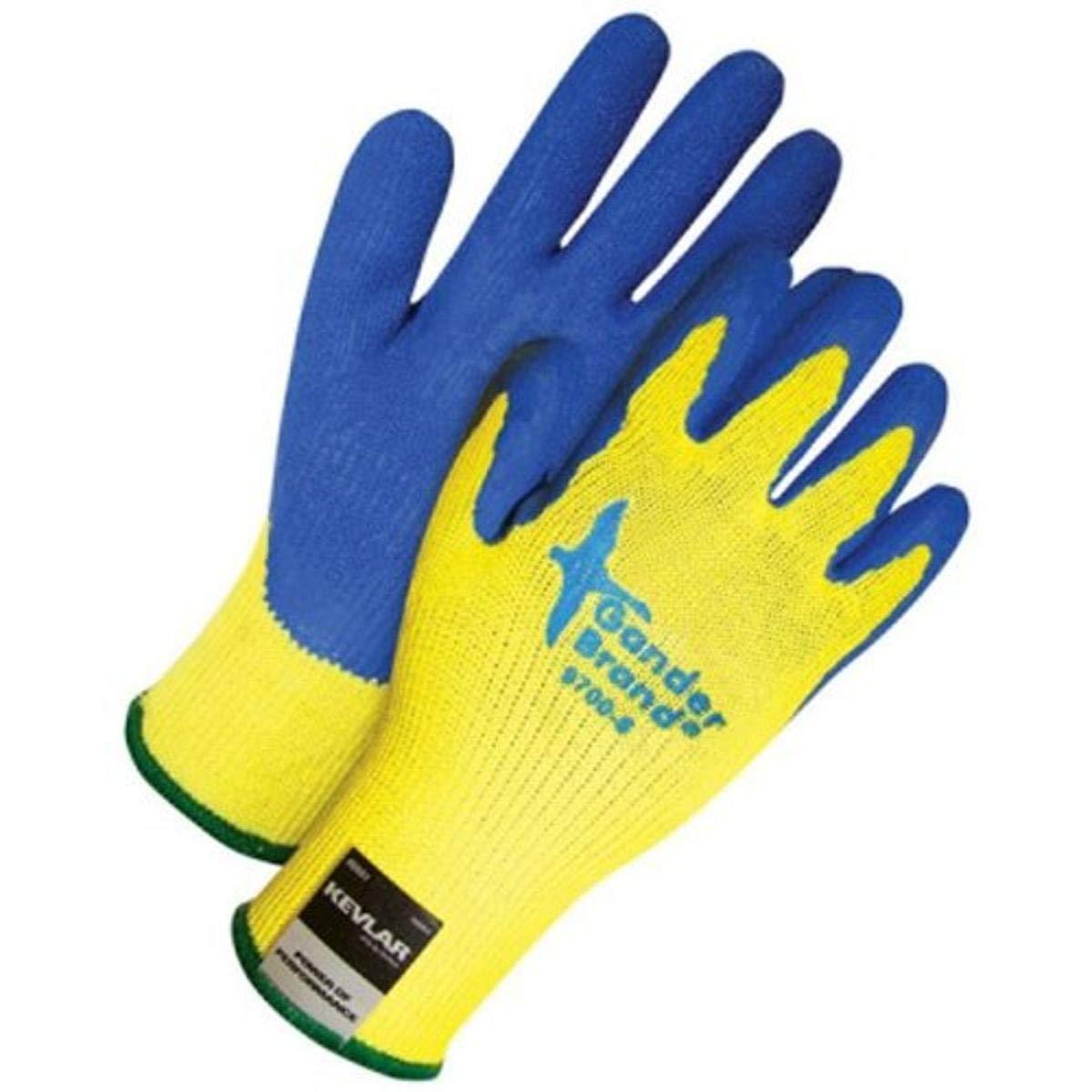 Bob Dale 99-1-9700-9 Seamless Knit Glove, Kevlar Cut Level 4 Crinkle Latex Palm, Size 9, Blue/Yellow