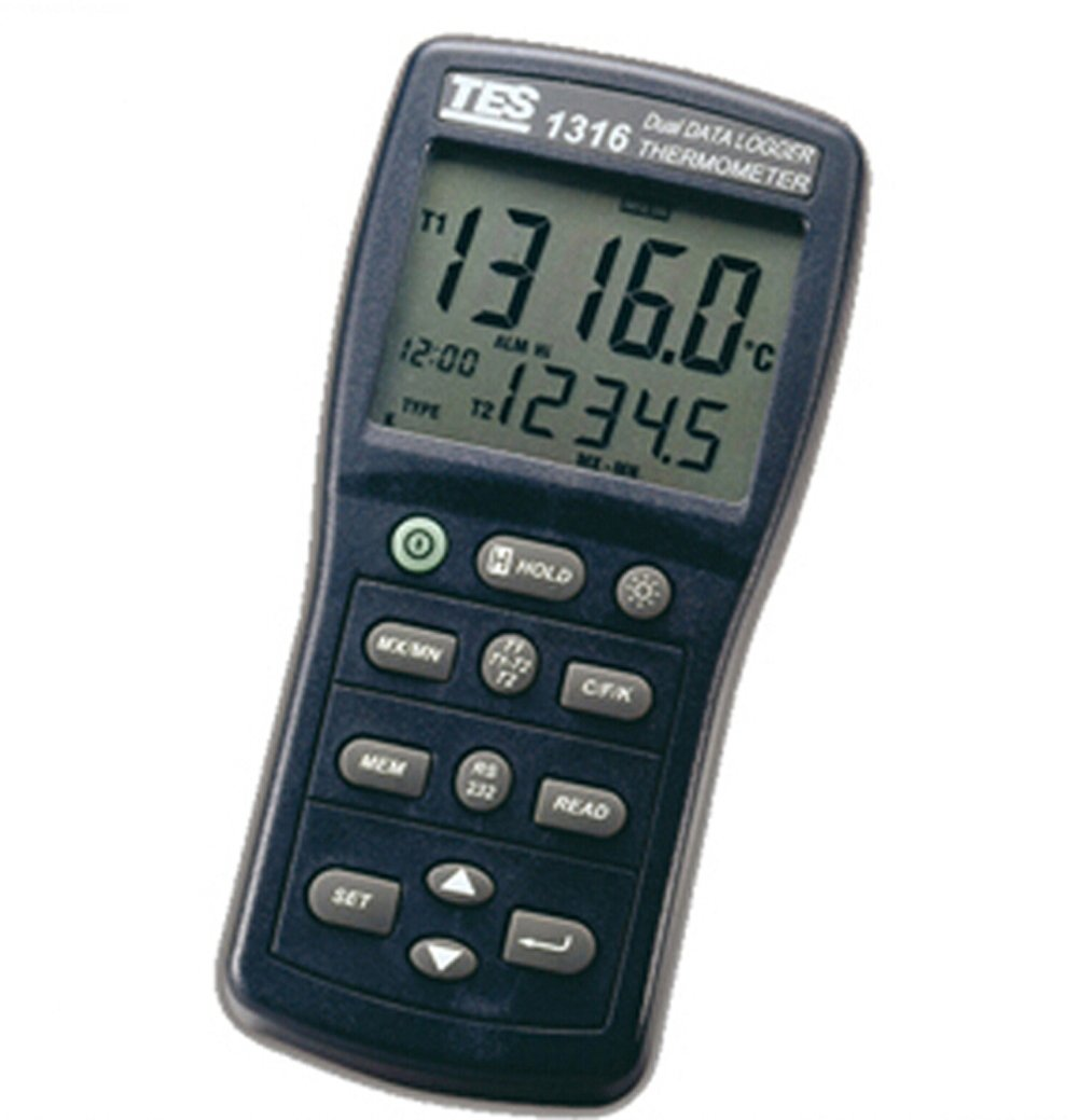 TES Instruments TES-1316 Digital Data-Logger Thermometer, Type K, J, E, T, R, S, N
