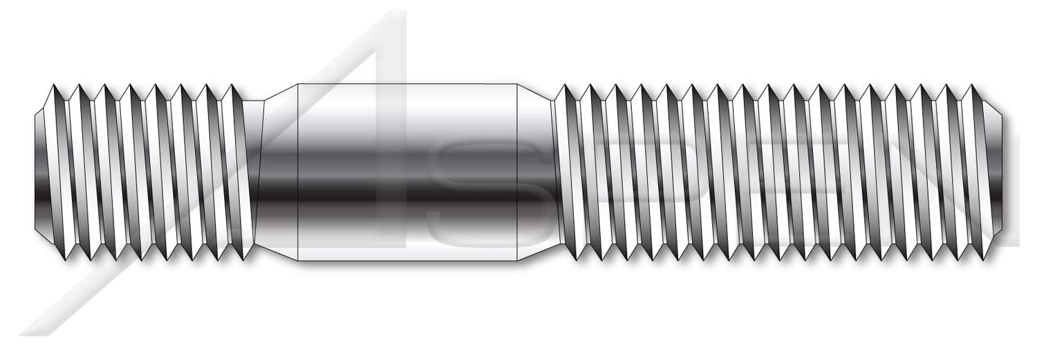 (50 pcs) M20-2.5 X 100mm, DIN 938, Metric, Double-Ended Stud with Plain Center, Screw-in End 1.0 X Diameter, A2 Stainless Steel