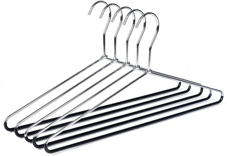 10 Metal Hangers Quality Heavy Duty Metal Coat Hangers with Non-Slip Rubber Coating for Pants (10)