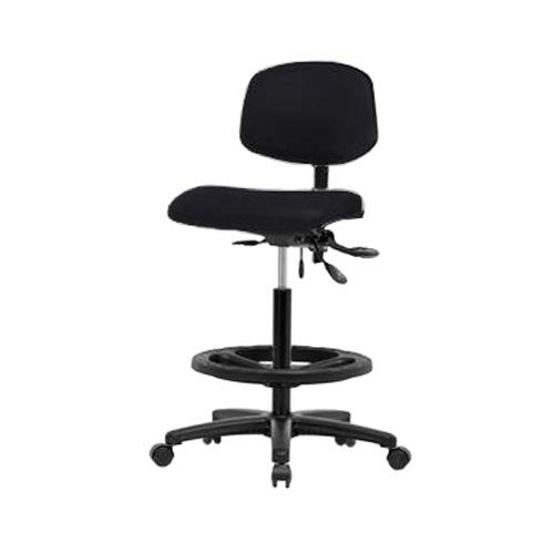 Thomas ECOM VHBCH-RG-T0-A0-BF-RG-c8540 Black Vinyl High Bench Height Chair with Nylon Base and Without Tilt/Arm, Foot Ring, Glides