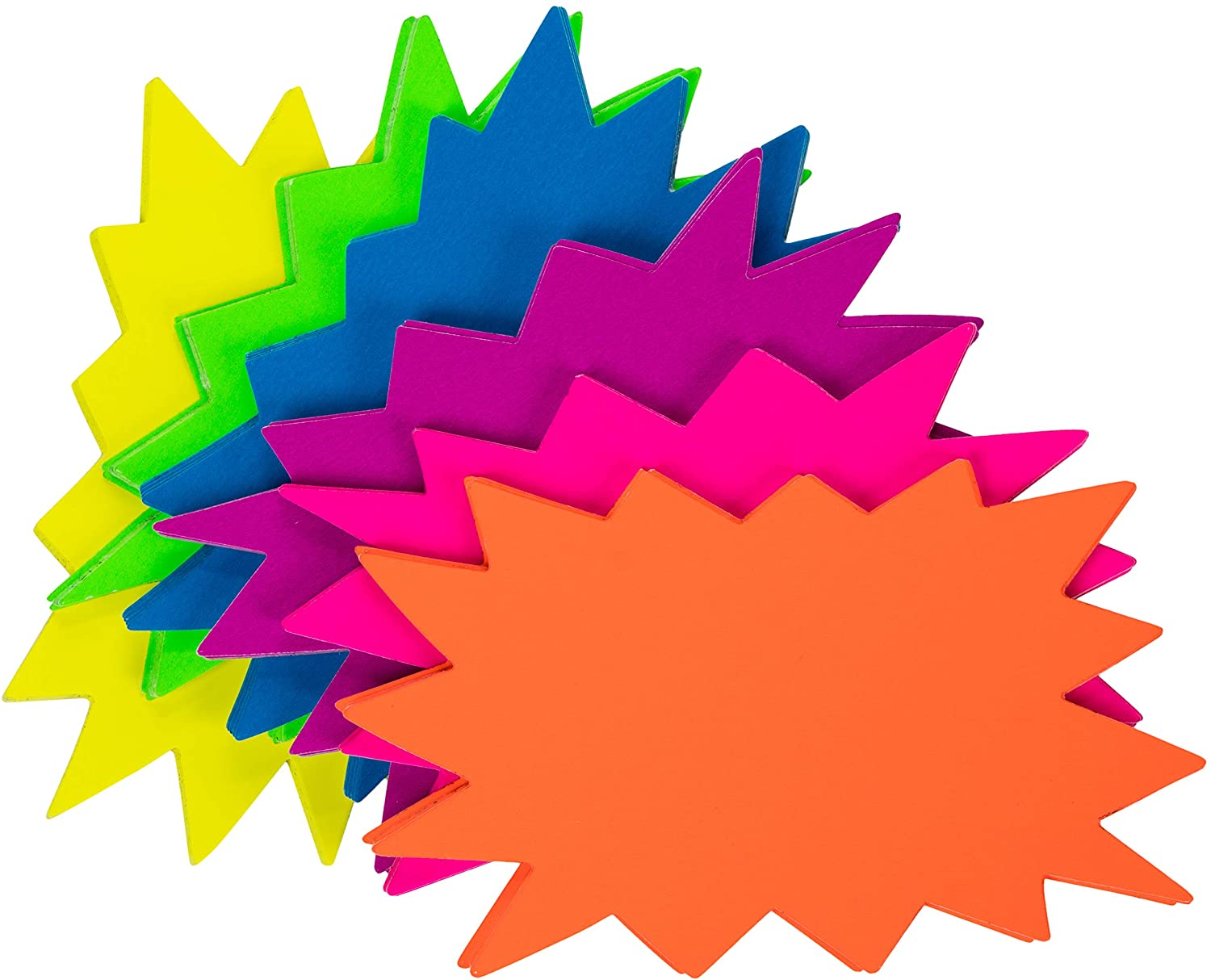 Juvale Starburst Signs - 60-Pack Star Burst Signs for Retail, Fluorescent Neon Paper, 6 Assorted Bright Color Display Tags to Boost Sales, 3 x 5 Inches