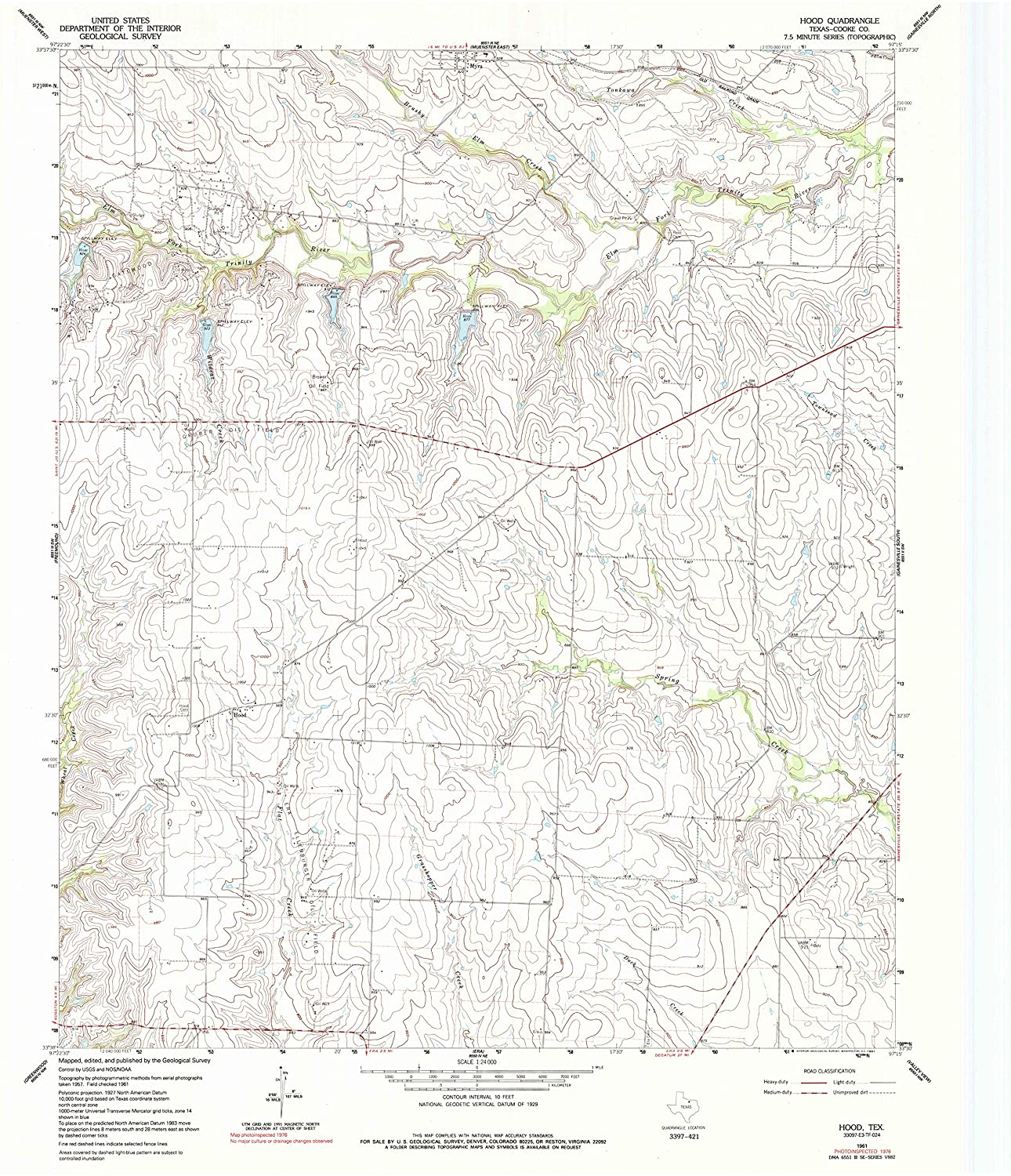Map Print - Hood, Texas (1961), 1:24000 Scale - 24