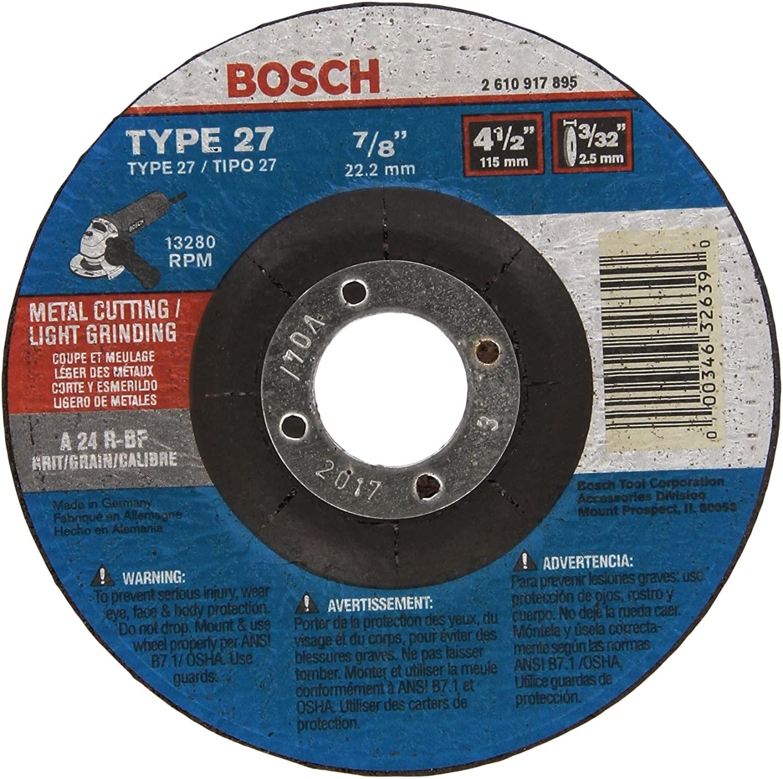 Bosch CG27M450 4-1/2 In. 3/32 In. 7/8 In. Arbor Type 27 24 Grit Light Grinding/Metal Cutting Abrasive Wheel