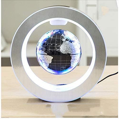 GLOBE AS Magnetic Levitation Globe 6 Inch O Type LED Lights Illuminate Home Office Decoration World Map Kids Educational Globe (Black)