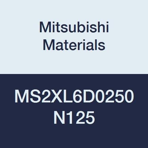 Mitsubishi Materials MS2XL6D0250N125 Series MS2XL6 Carbide Mstar Square End Mill, Short Flute, Long Neck, 6 mm Shank, 2 Flutes, 2.5 mm Cutting Dia, 12.5 mm Neck Length