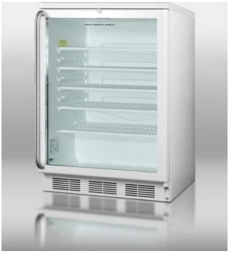 Summit SCR600LSH Beverage Refrigerator, Glass/White