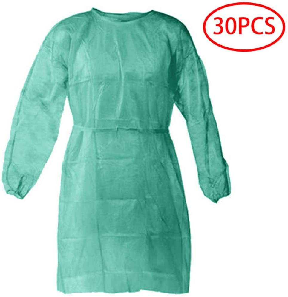 Disposable Isolation Suit, Coveralls Protective Suit, Full Body Isolation Gowns Clothing Anti-Spitting And Anti-Oil Stain Nursin Against Infection Suits Elastic cuffs with waist (30 Packs)