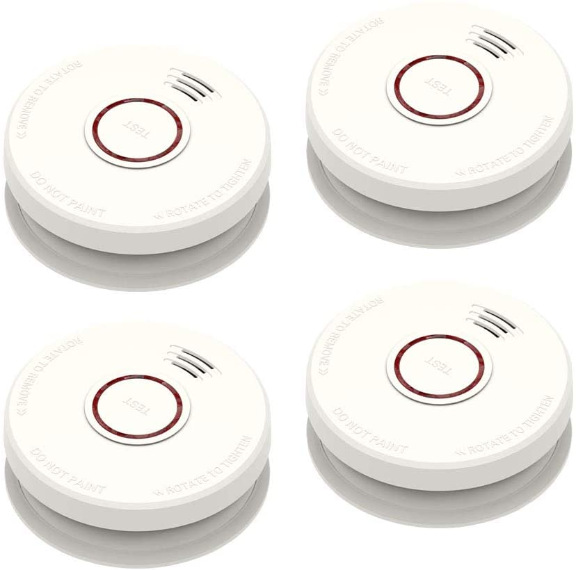 4 Pack Smoke Detector Fire Alarms 9V Battery Operated Photoelectric Sensor Smoke Alarms Easy to Install with Light Sound Warning, Test Button,9V Battery Included Fire Safety for Home Hotel