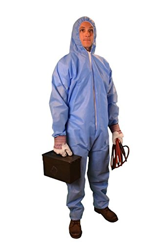 Keystone CVLSMSREGHE-SM-Blue SMS Coverall, Elastic Wrists and Ankles, Attached Hood Zipper Front, Small, Blue (Pack of 25)