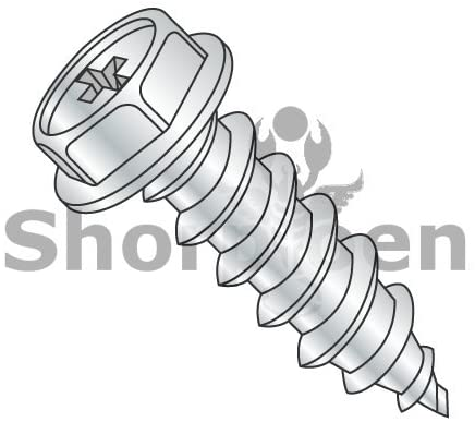 10-16X3/8 Phillips Indented Hex Washer Self Tapping Screw Type AB Fully Threaded Zinc Bake - Box Quantity 8000 by Shorpioen BC-1006ABPW