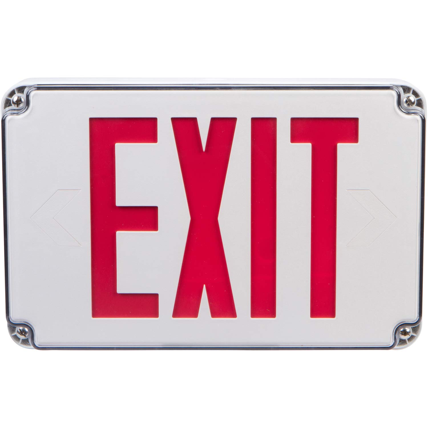 Morris Products Wet Location LED Exit Sign – Red with White Housing – Ni-Cad Battery Backup - Fully Automatic – Resistant to Humidity, Washdown Environment – Self-Contained – Energy Saving