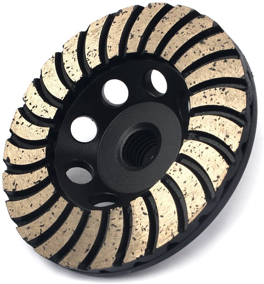4-inch Diamond Cup Grinding Wheel with 5/8-11 Thread Double Layer Segment Grits 100 for Granite Marble Stone Concrete Grinding Wet or Dry
