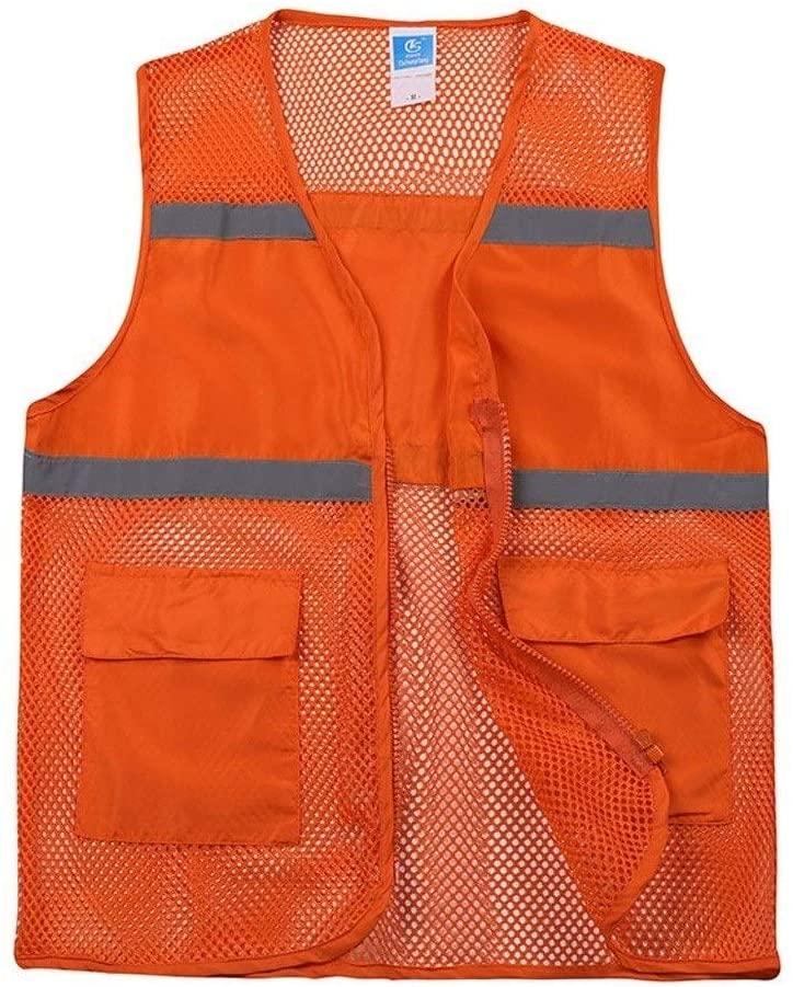 Safety Vest Breathable Reflective Vest, Overalls Breathable Grid Safety Night Travel Building Construction Safety Neutral High Visibility Vest Orange Child Safety Vest (Size : L)
