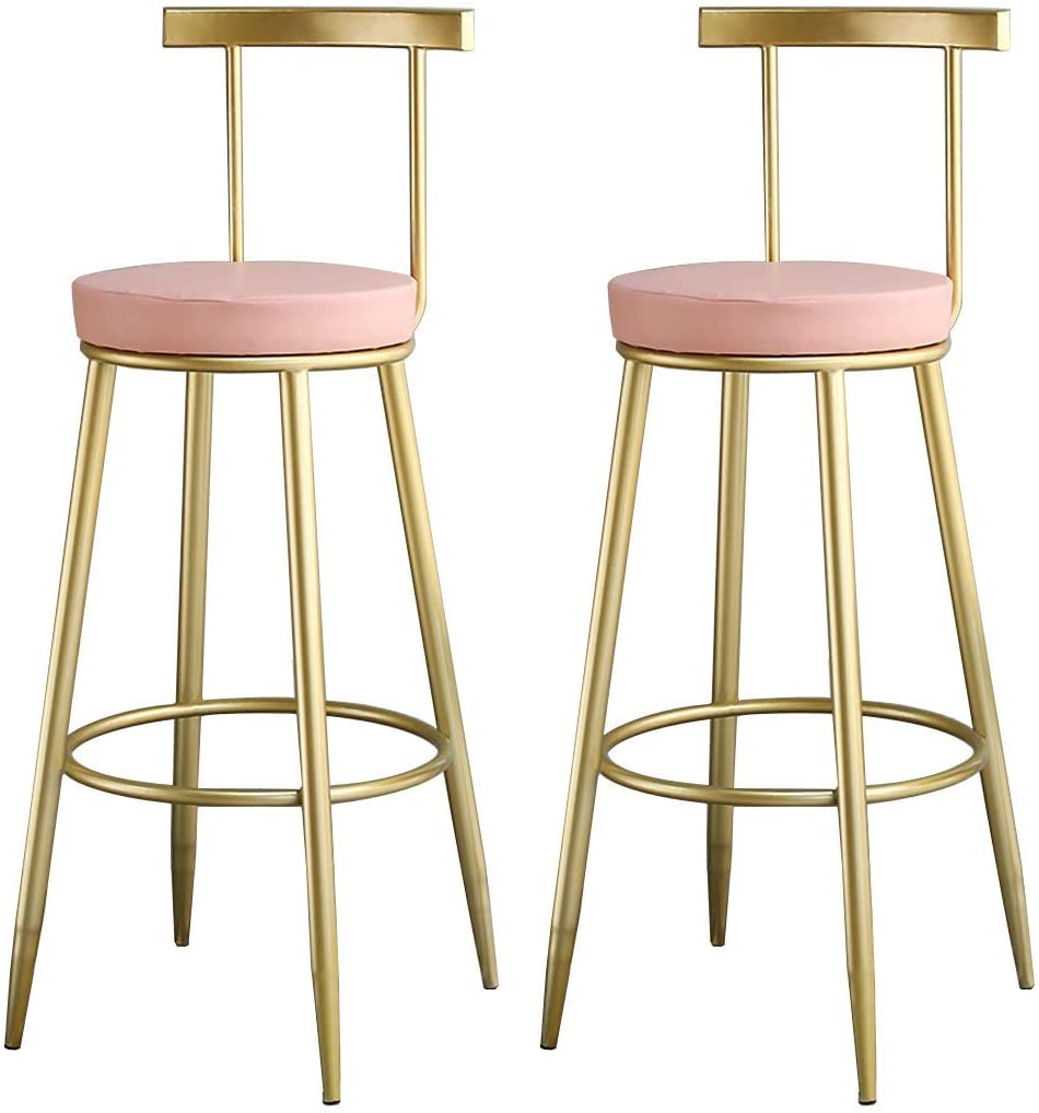 KMMK Desk Chairs,On-Trend Kitchen and Breakfast Barstool Set of 2 Pcs Bar Chair Double for Counter Pub Café 45/65/75Cm Max Load 200Kg,Pink,65Cm