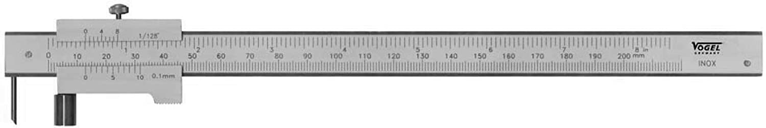 Univ. Marking Gauge, 200 mm vernier 0,1 mm, with roller inox, chromed, in a pouch