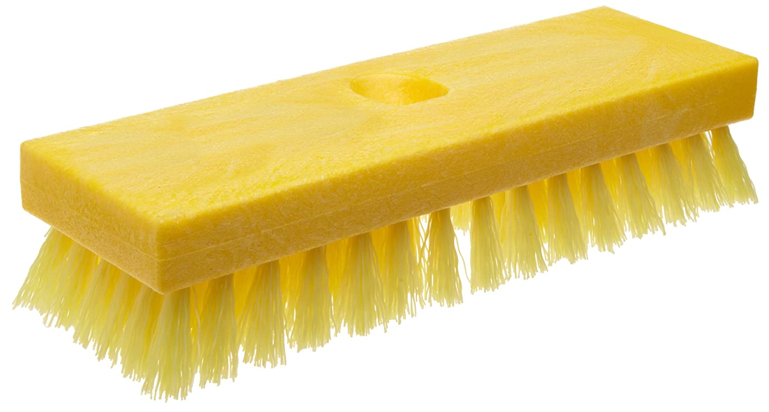 Rubbermaid Commercial FG9B3600YEL Plastic Block Deck Brush with Threaded Handle Hole, Polypropylene Fill, Yellow