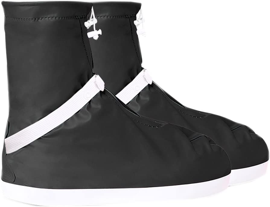 Rain-proof Rain Boots Shoes Cover Unisex Non-slip Thickened Wear-resisting Waterproof Outdoor Rain Shoes (XXL, Black)