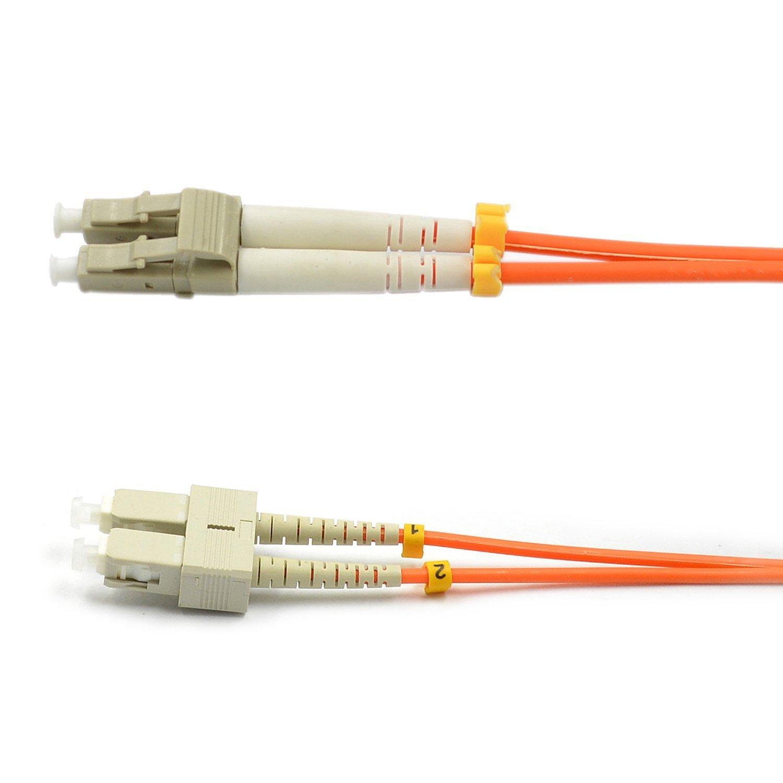 CableJoy LC-SC 62.5/125 OM1 Duplex Multimode PVC Fiber Optic Cable, Orange (3 Meter)