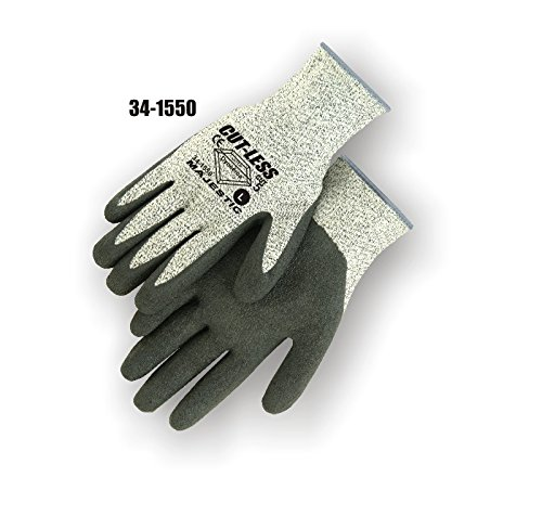 Majestic Glove 34-1550/L Industrial Gloves, Dyneema, Latex Palm, Level 5, Large, Light Gray/Black (Pack of 12)