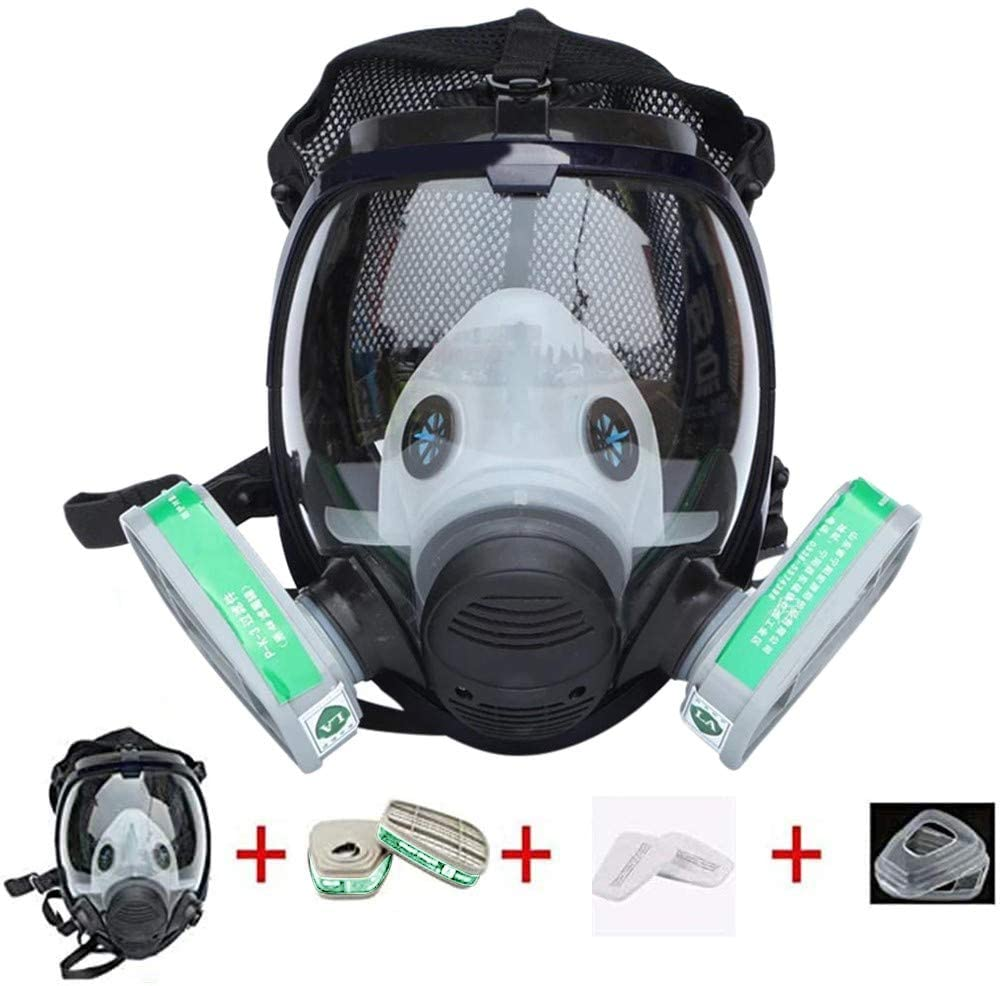 EKIMI Full Respirator, Wide Field of View Reusable Gas Cover Facepiece Paint Covering Widely Used in Organic Gas, Paint Sprayer, Chemical, Woodworking, Dust Protector