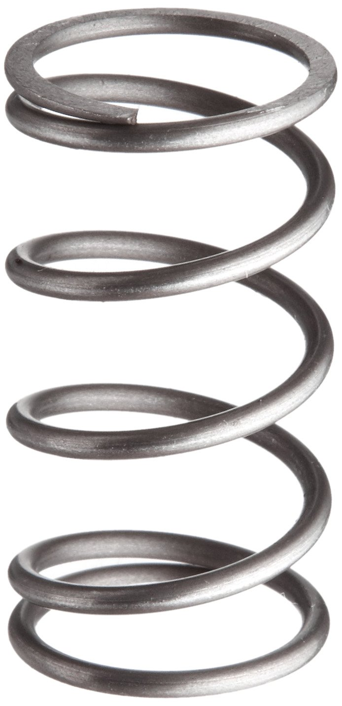 Music Wire Compression Spring, Steel, Metric, 22 mm OD, 2 mm Wire Size, 55.6 mm Compressed Length, 200 mm Free Length, 158.85 N Load Capacity, 1.1 N/mm Spring Rate (Pack of 10)