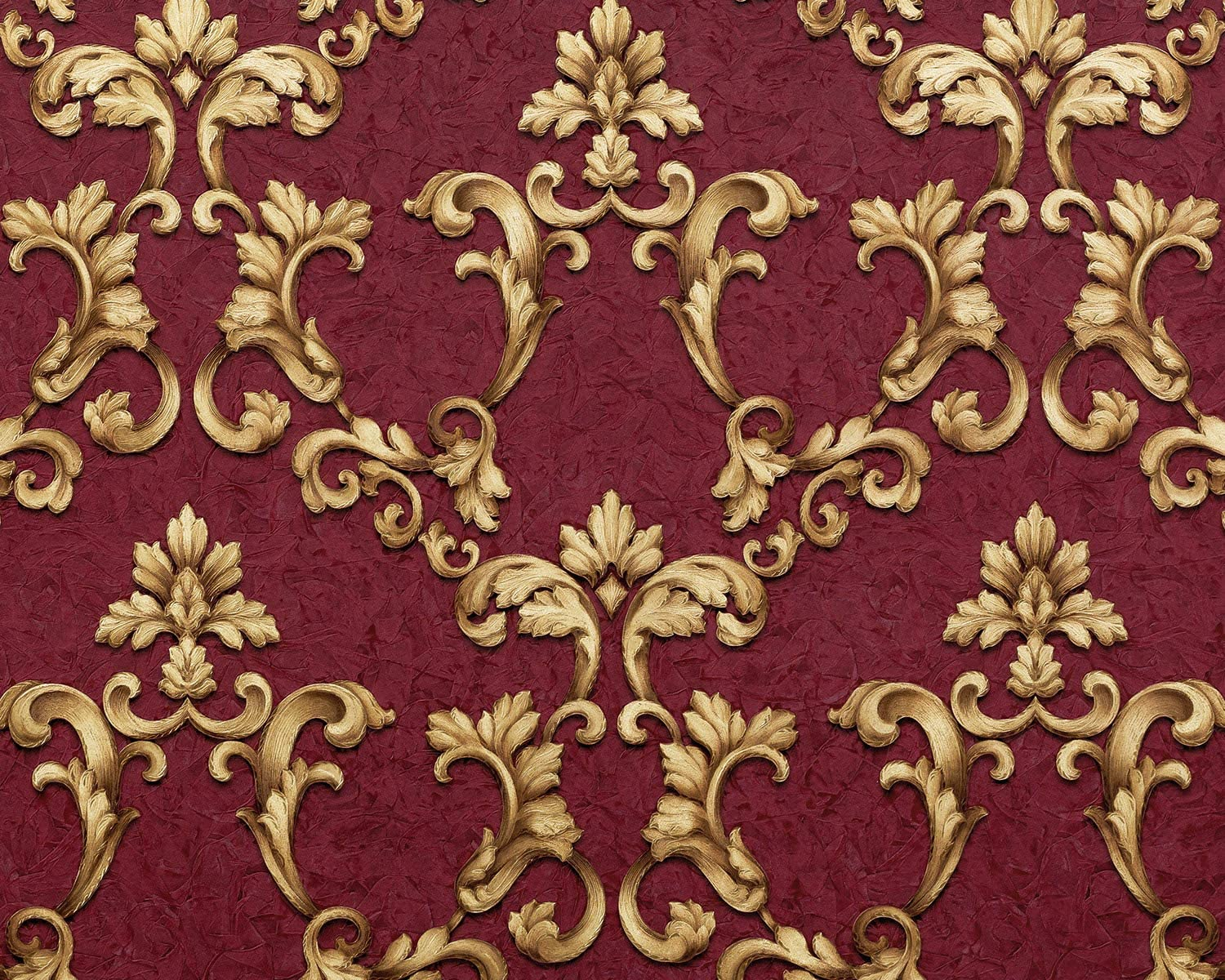 Baroque wallcovering Wall EDEM 9085-25 hot Embossed Non-Woven Wallpaper Embossed with Floral 3D Ornaments Shimmering red Claret Violet Gold 10.65 m2 (114 ft2)