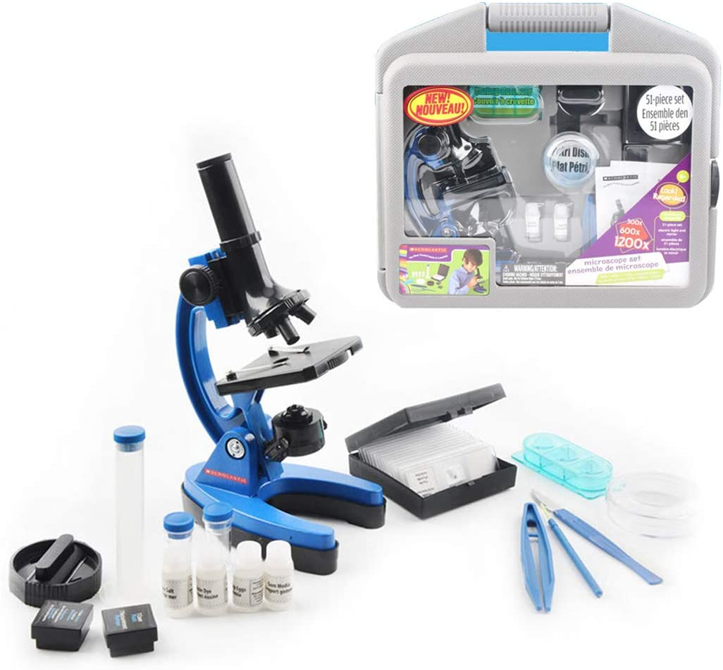 HMANE Microscope Kit - 1200X Kids Microscope with 52-Piece Accessory Set and Case (Blue)