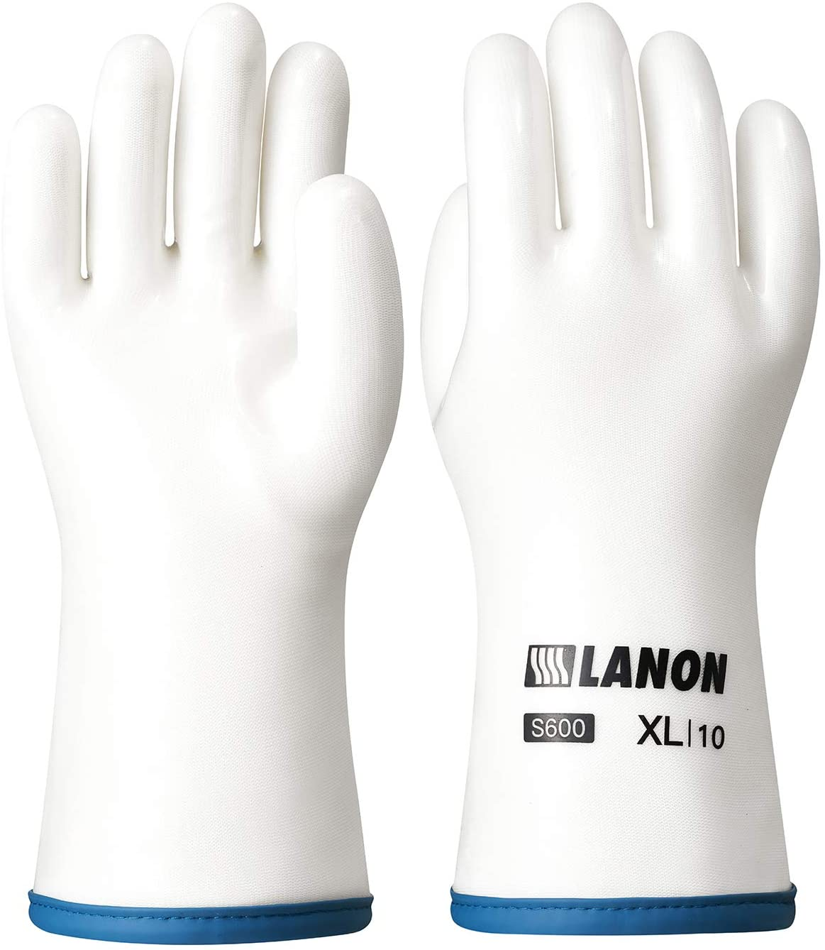 LANON Liquid Silicone Heat Resistant Gloves, Food Contact Grade, Waterproof, White, Size 10