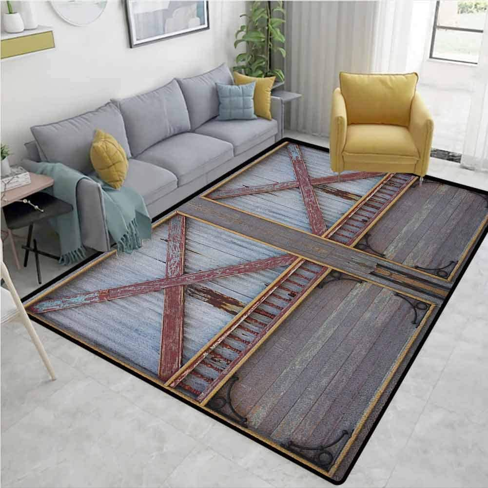 Industrial Paisley Area Rug Non Slip, Zinc Style Wooden Gate Image Street Construction Window Covered with Plank Image, Durable Rugs - Living, Dinning, Office, Rooms & Bedrrom, Hallway Carpet
