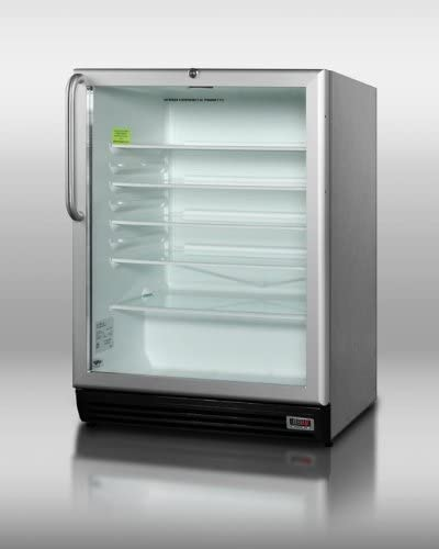 Summit SCR600BLPUBCSS: Commercially approved built-in glass door refrigerator for red wine and ale storage, with stainless steel cabinet, digital thermostat and lock